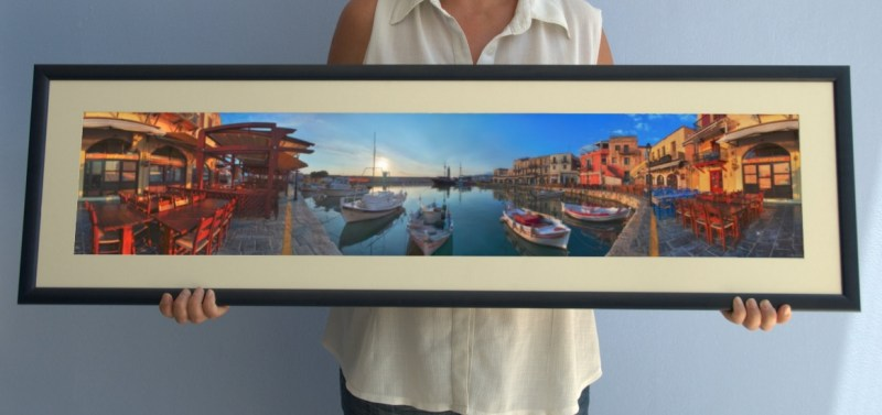 Framed one metre print of Rethymnon harbour