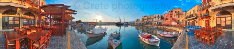 Rethymnon inner harbour 360 panorama